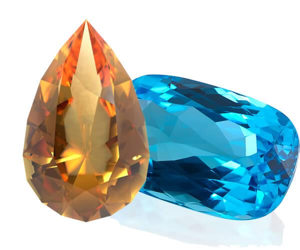 سنگ توپاز آبی و زرد