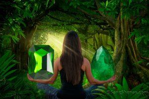 رنگ درمانی با سنگهای سبز رنگ