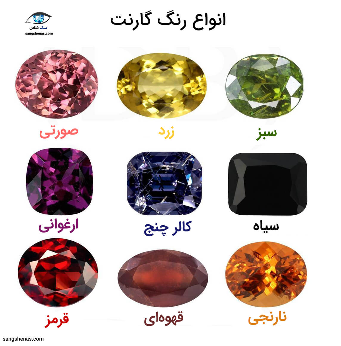 انواع رنگ سنگ گارنت