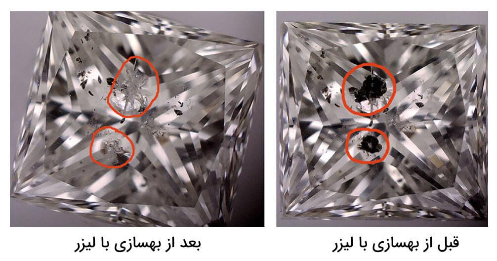 الماس ترمیم شده به روش لیزر زنی