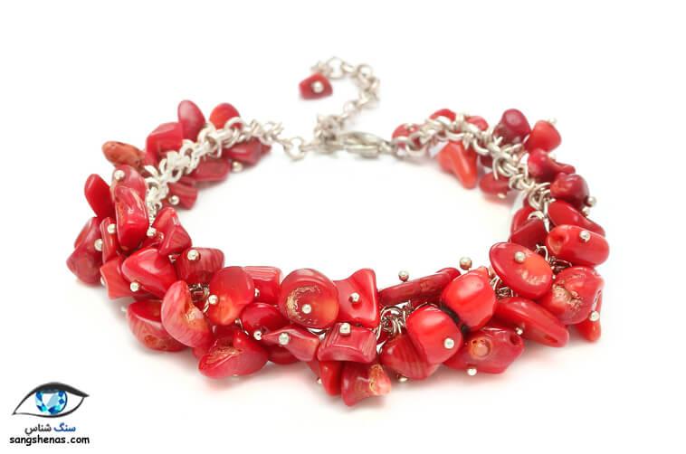 دستبند سنگ مرجان سرخ طبیعی و اصل