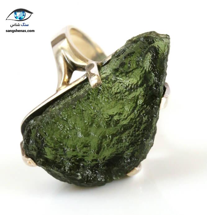 انگشتر سنگ مولداویت طبیعی
