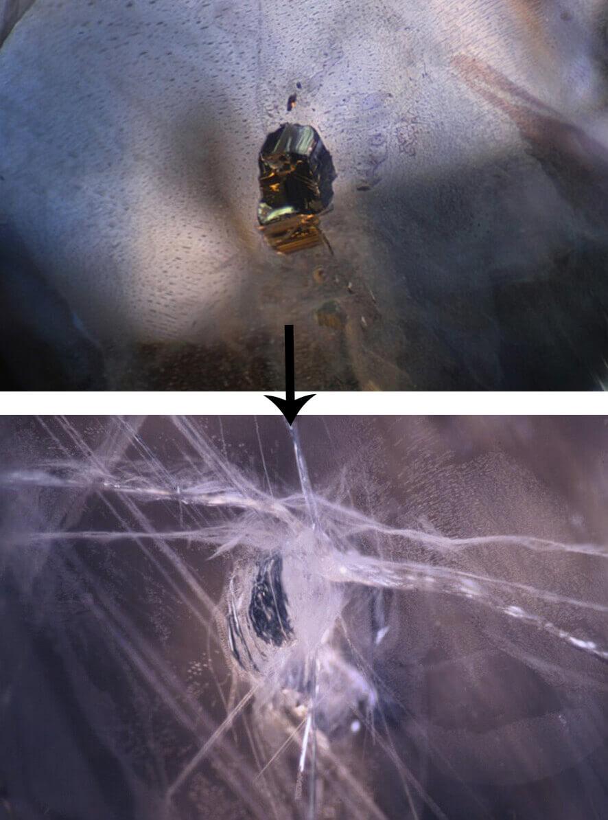 شناخت اینکلوژن یاقوت کبود بعد از بهسازی فشار و دما
