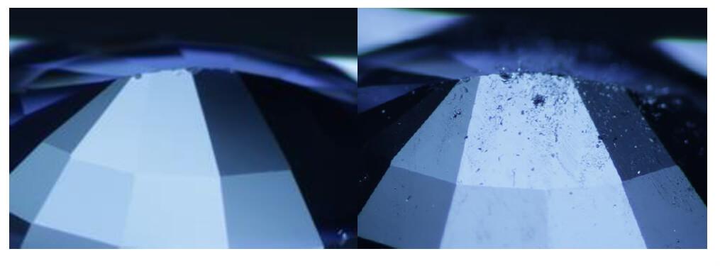 یاقوت کبود بهسازی شده با فشار و دما زیر میکروسکوپ