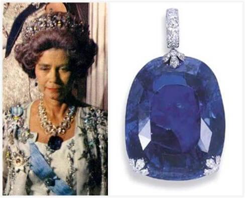 ملکه فردریکا همراه یاقوت آبی بزرگ خود