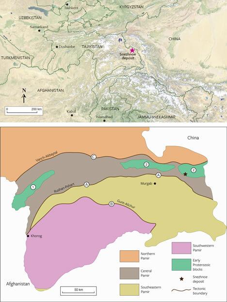 نقشه زمین شناسی کانسار اسنیژنه تاجیکستان