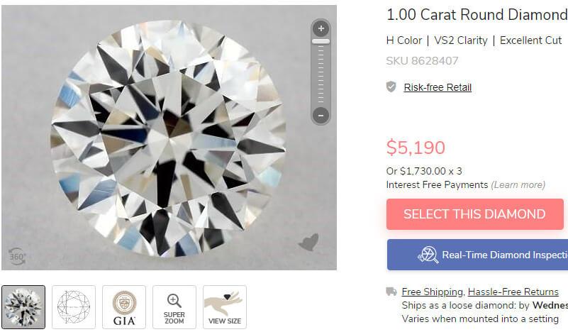 مقایسه قیمت الماس با رنگ H