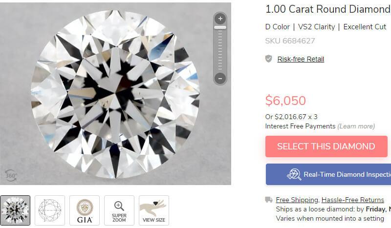 مقایسه قیمت الماس با رنگ D