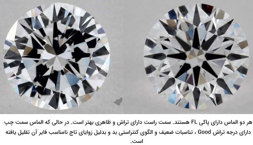 تفاوت تراش الماس در دو الماس Flawless