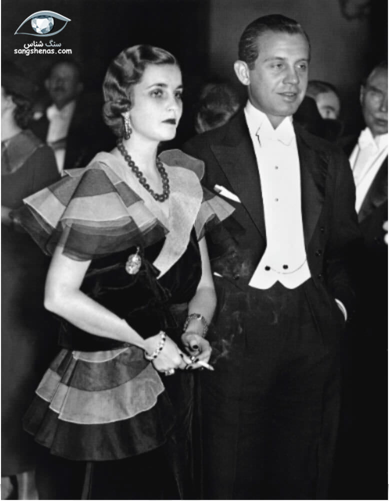 باربارا وولورث هاتن همراه گردنبند یشم گرانبهای خود در کنار همسرش مدیوانی