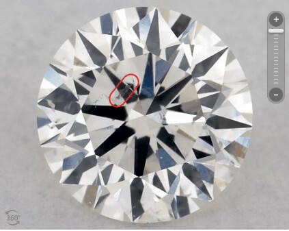 اینکلوژن واضح در وسط Table الماس