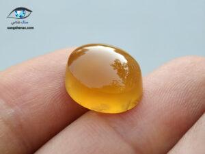 عقیق زرد عسلی طبیعی بیضی 1.9 گرم