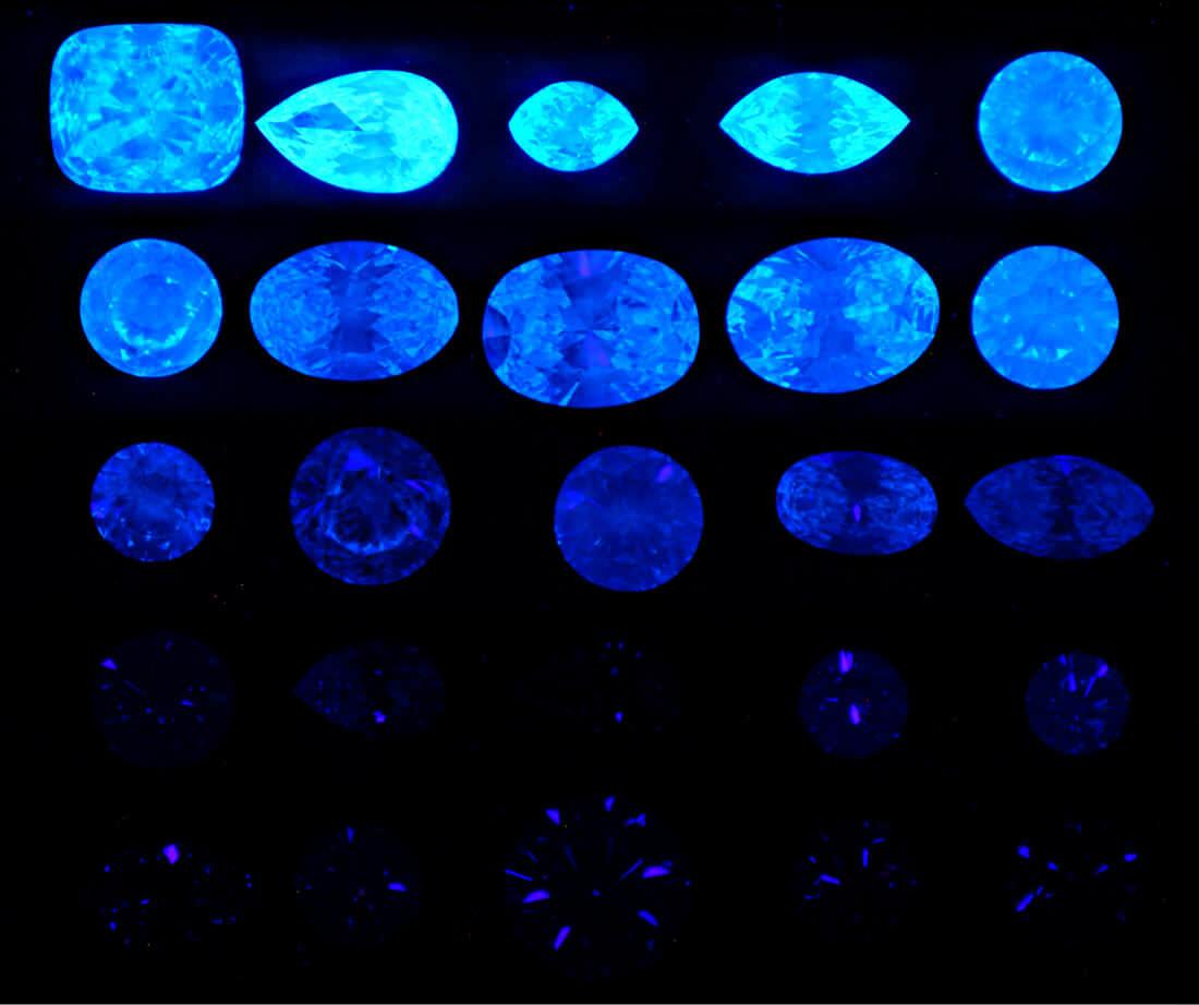 فلورسانس الماس تحت uv