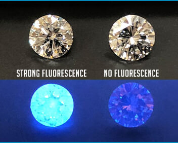 فلورسانس الماس قوی و بدون آن