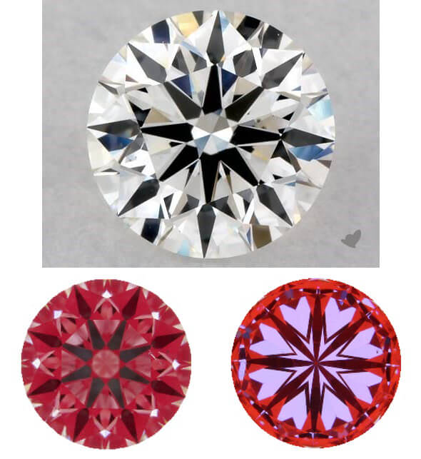 مقایسه تراش الماس دارای hearts and arrows